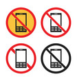 no cell phone icons mobile phone sign vector image vector image