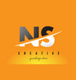 Ns n s letter modern logo design with yellow vector image