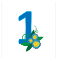 Number one with floral vector image