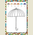 page for coloring book contour umbrella isolated vector image