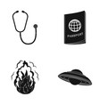 phonendoscope passport and other web icon in vector image vector image