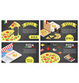 pizza festival banner concept set isometric style vector image