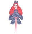 portrait beautiful girl with a sword and crown vector image