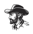 Portrait man in cowboy hat Sketch vector image vector image