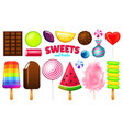realistic sweet candies set swirl caramel vector image