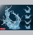 realistic water splash bursts and crown vector image vector image