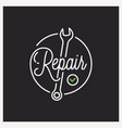 repair service logo round linear wrench vector image