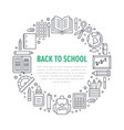 school supplies circle template with line icons vector image vector image