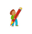 schoolboy with big pencil in his hands isolated on vector image vector image