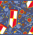 seamless pattern flat chivalric equipment banner vector image vector image