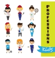 set cute cartoon kids in different vector image