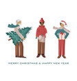 set men dressed in winter holidays outfit vector image vector image
