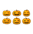 set of funny pumpkins halloween symbol cartoon vector image