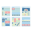 set of six flat website templates vector image