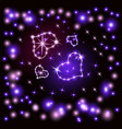 shining hearts retro neon sign heart-violet vector image vector image