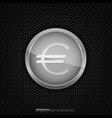 silver euro coin vector image vector image