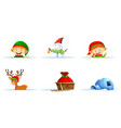 snowman and elf for christmas vector image vector image