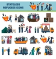 Stateless refugees icons vector image