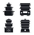 steamer icon set simple style vector image