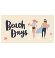 summer postcard template with woman dressed vector image vector image