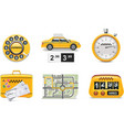 Taxi service icon set vector | Price: 3 Credits (USD $3)