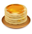 Thick pancakes with honey on plate stack of vector image