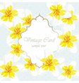 Vintage Card with yellow flowers vector image
