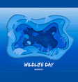 wildlife day cutout card of sea animals underwater vector image vector image