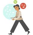 woman using mobile gadget vector image