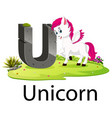 zoo animal alphabet u for unicorn vector image