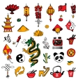 China icons sketch style vector image