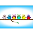 Funny colorful owls in a row vector image