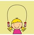 girl happy cartoon jump rope vector image