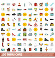 100 tour icons set flat style vector image vector image