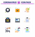 9 flat color viral virus corona icon pack vector image vector image