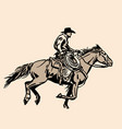 american cowboy riding horse and throwing lasso vector image