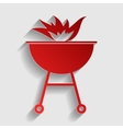 Barbecue with fire sign vector image vector image