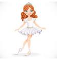 beautiful little brunette ballerina girl in tiara
