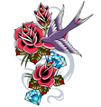 bird with rose flower vector image vector image