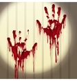 Bloody hand prints on a wall vector image vector image