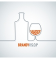 brandy glass bottle background vector image