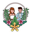 bride and groom wreath flowers wedding day vector image vector image