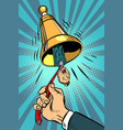 business alarm concept hand ringing the bell vector image vector image