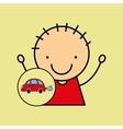 Cartoon boy happy car toy