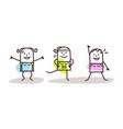 cartoon girls enjoying gymnastics exercises vector image