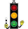 Cartoon green traffic light vector image vector image