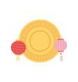 chinese lanterns mooncake decoration vector image vector image