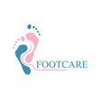 correct foot care template cosmetological and vector image vector image