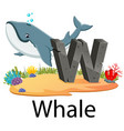 cute zoo animal alphabet w for whale vector image
