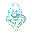 degraded line couple mouse animal in float island vector image vector image